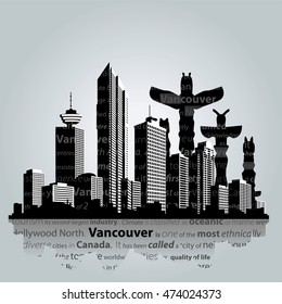 The cityscape of Vancouver . Vector illustration
