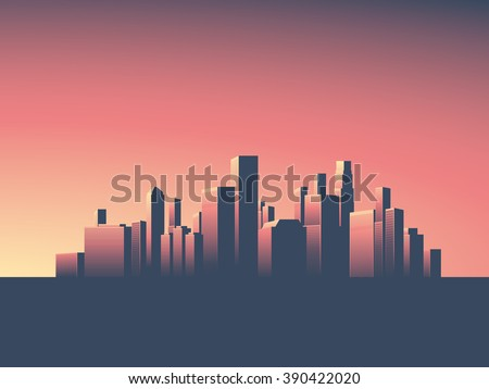Skyline wallpaper with skyscrapers in sunset or sunrise. Eps10 vector illustration