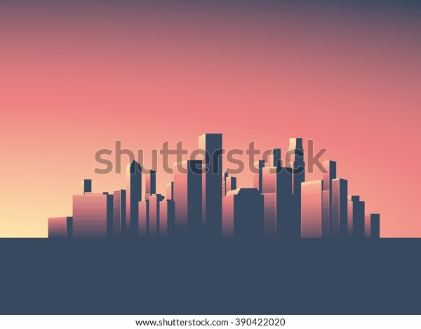Cityscape Vector Background Skyline Wallpaper Skyscrapers Stock Vector Royalty Free 390422020