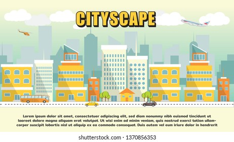 Cityscape vector background town city