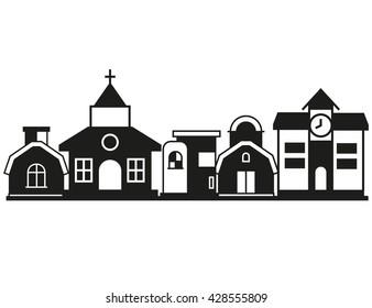 cityscape, vector black city icon on white