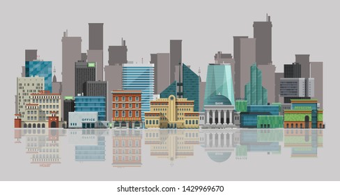 Cityscape vector illustration. Urban landscape with large modern buildings and skyscrappers reflecting in water. Streets, banks, museums, offices and sky scrapers.