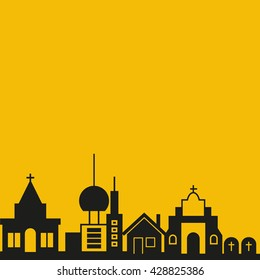 cityscape vector illustration yellow background