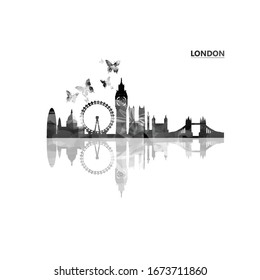 Cityscape view of London black and white vector illustration. Tourism and travel poster background. Famous London skyline landmarks design for web banner, card, brochure, promotion material