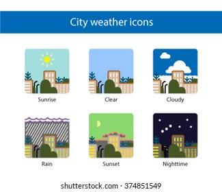 Cityscape weather square icon, colored.
