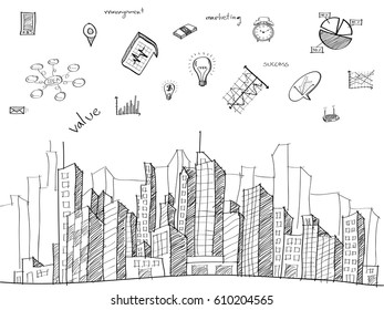 Cityscape with Web icons, Business icons and Technology icons for technology and business concept, Vector Illustration EPS 10.