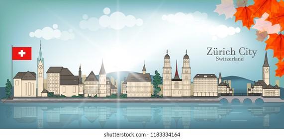 Cityscape of Zurich City - Switzerland . EPS10