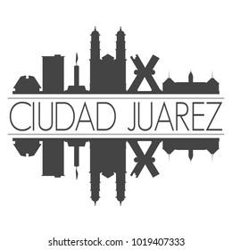 Ciudad Juarez Mexico America Skyline Vector Art Mirror Silhouette