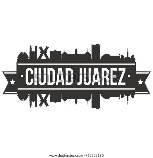 ciudad juarez mexico skyline silhouette 600w 768325180