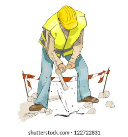 Civil construction, man digging with pick axe, wearing a yellow construction helmet and reflective vest