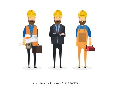 Civil engineer, architect and construction workers characters group. Cool vector flat design construction team characters line-up. Group of construction workers in hard hats friendly smiling