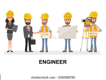 Civil engineer, architect and construction workers characters group.  vector design construction team characters line- up. Group of construction workers in hard hats friendly smiling