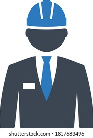 Civil engineer Avatar Concept vector Icon Design, Site Inspector illustartion, Project Manager with Hard Helmet Character, construction and manufacturing Symbol on White background