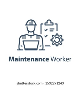 Civil engineer behind notebook, check list and cogwheel, maintenance service, technician worker, vector line icon