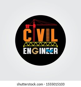 Civil Engineer Construction Vector Image Logo Design