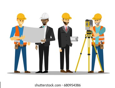 Civil engineer discussion with architects, reading instructions, land survey and civil engineer working with his equipment, vector illustration in a flat style.