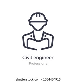 civil engineer outline icon. isolated line vector illustration from professions collection. editable thin stroke civil engineer icon on white background