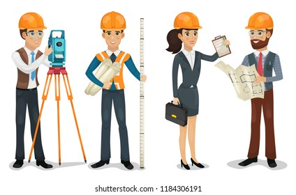 Civil engineer, surveyor, architect and construction workers isolated vector illustration.