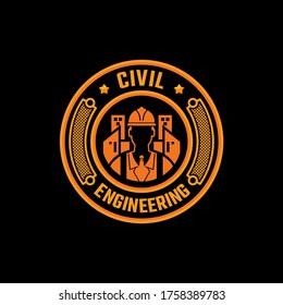 Civil engineering logo. Badge, emblem vector template.
