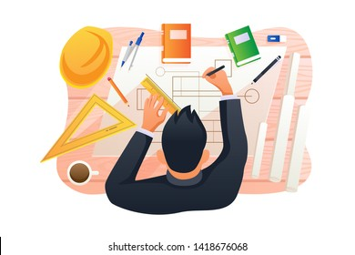 Civil Engineering Vector Concept Illustration, Suitable for web landing page, ui, mobile app, editorial design, flyer, banner, and other related occasion