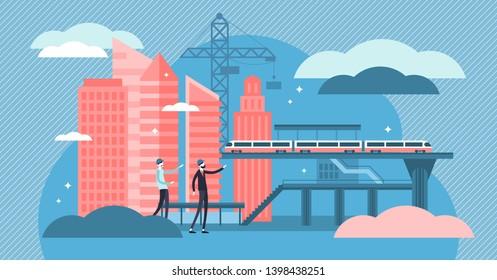 Civil engineering vector illustration. Tiny construction job persons concept. Building design and maintenance work. Roads, bridges, railway transport construction industry and environment development.