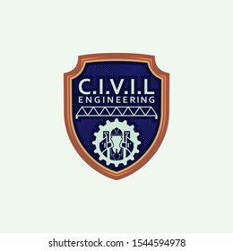 Civil Engineering Vector Logo Template. Badges Vector for Engineer Geek
