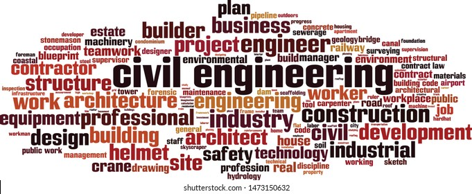 Civil engineering word cloud concept. Collage made of words about civil engineering. Vector illustration