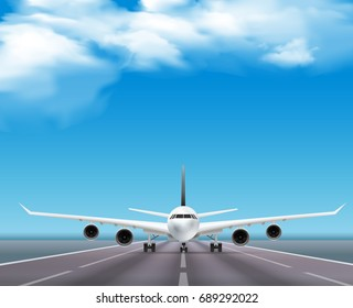 Civil passenger airliner jet on runway realistic front view  image travel agency advertisement poster sky background  vector illustration