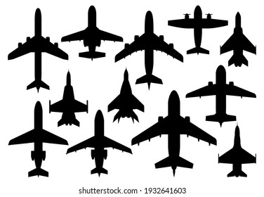 Civil passenger and military combat airplanes silhouettes. Airline modern airliner, private business jet and army air forces fighters or bombers, propeller cargo aircraft vector. Aviation aircraft