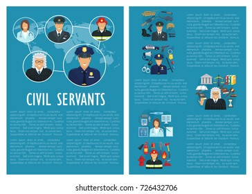Civil servants of medicine, aviation or law and fire extinguishing. Firefighter man, judge or policeman and military pilot profession with work tools and ammunition. Vector flat poster
