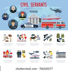 Civil servants poster or infographics. Vector firefighter, judge or policeman and pilot profession, fire extinguishing truck, law court or detective tools and military ammunition and aviation airplane