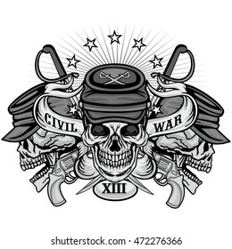 civil war coat of arms with skull, grunge.vintage design t-shirts