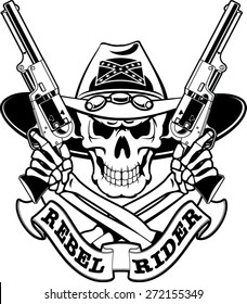 civil war skull with crossed guns and banner