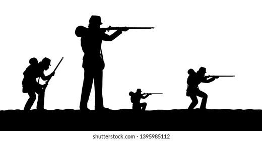 Civil war soldier troops silhouette vector