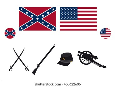 Civil War USA attributes vector. Symbols of the American Civil War. Vector illustration