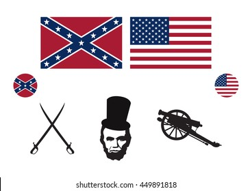 Civil War USA icon set vector. Symbols of the American Civil War