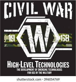 CIVIL WAR - Vector Graphics and typography t-shirt design for apparel. Varsity and camouflage.