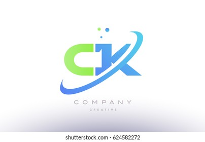 ck c k alphabet green blue swoosh letter company logo vector icon design template