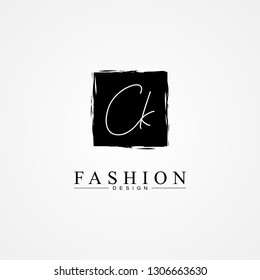 CK C K black letter logo icon with organic square and text in the middle. Creative monogram logo design. Fashion icon design template.
