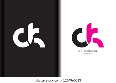 ck c k black pink white lowercase combination modern creative alphabet gradient company letter logo design vector icon template trendy - Vector
