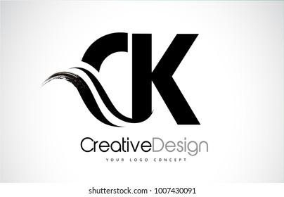 CK C K Creative Modern Black Letters Logo Design with Brush Swoosh