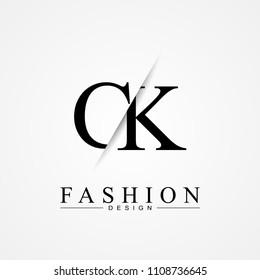 CK C K cutting and linked letter logo icon with paper cut in the middle. Creative monogram logo design. Fashion icon design template.