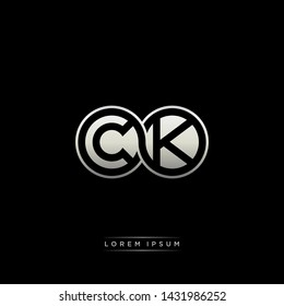CK C K initial letter linked circle capital monogram logo modern template silver color edition