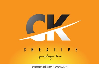 CK C K Letter Modern Logo Design with Swoosh Cutting the Middle Letters and Yellow Background.