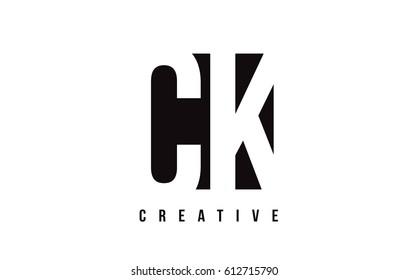 CK C K White Letter Logo Design with Black Square Vector Illustration Template.