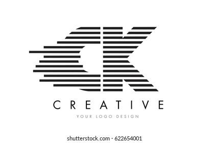 CK C K Zebra Letter Logo Design with Black and White Stripes Vector