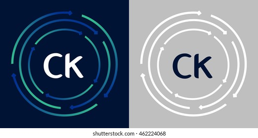 CK design template elements in abstract background logo, design identity in circle, letters business logo icon, blue/green alphabet letters, simplicity graphics