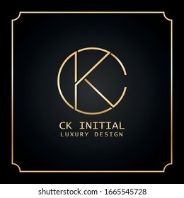 CK initial letter Luxury creative logo design in gold and silver
