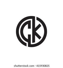 CK initial letters linked circle monogram logo