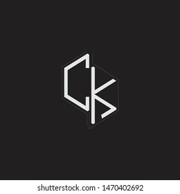 CK Initial Letters logo monogram with up to down style isolated on black background